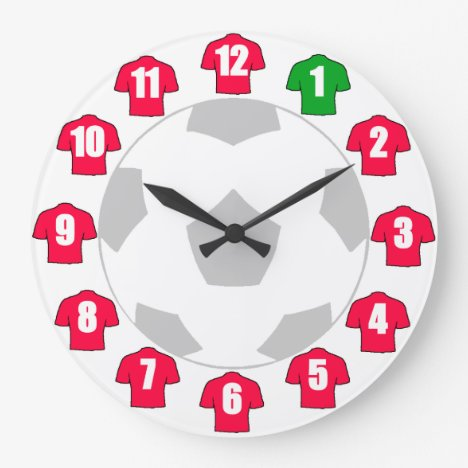 Football Clock - with Red Shirts