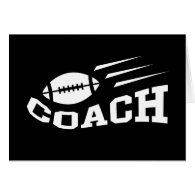 Football coach design - white print greeting cards