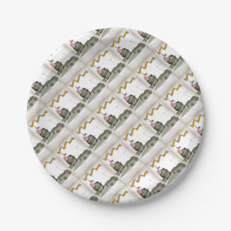 football coach red white stripes paper plate