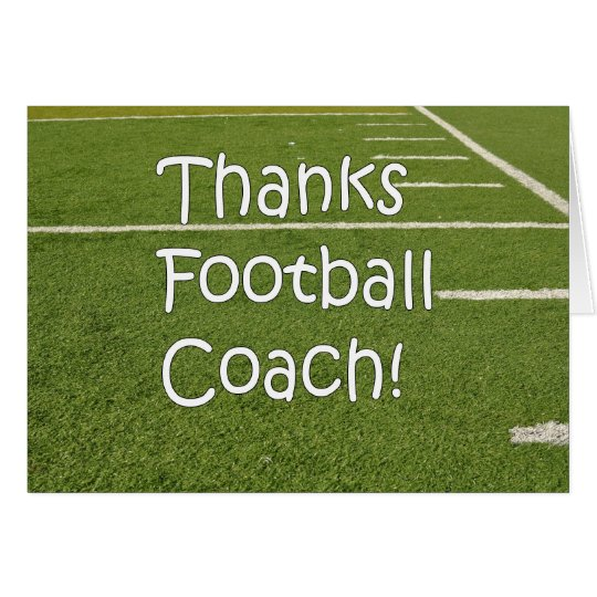 Football Coach Thank You Thanks on Playing Field Card