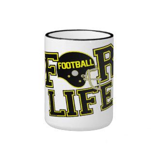 Football Coffee/Tea Cup ~ Black & Yellow Ringer Coffee Mug