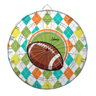 Football; Colorful Argyle Pattern Dart Board
