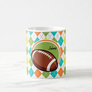 Football; Colorful Argyle Pattern Coffee Mug