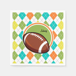 Football; Colorful Argyle Pattern Paper Napkins