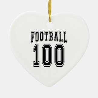 Football Crazy 100 Birthday Designs Double-Sided Heart Ceramic Christmas Ornament