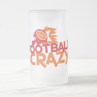 football crazy frosted glass beer mug