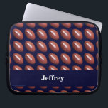"Football, Dark Blue Background, Laptop Sleeve<br><div class=""desc"">This laptop computer sleeve is decorated with footballs on a dark blue background, and personalized with name or other text. It&#39;s easy to modify or delete example text. What a wonderful way to protect your laptop. Wonderful gift for football players, fans, or coaches. All Rights Reserved &#169; 2014 Alan &amp;...</div>"