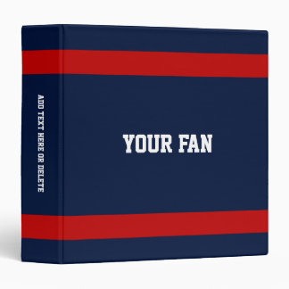 Football Deep Blue, Red & White Personalized Binder