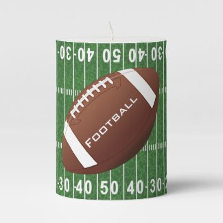 Football Design Pillar Candle