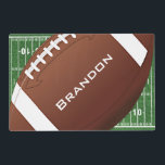 "Football Design Placemat<br><div class=""desc"">Football Design Placemat with images on back and front.</div>"
