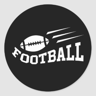 Football design with bouncing ball white on black classic round sticker
