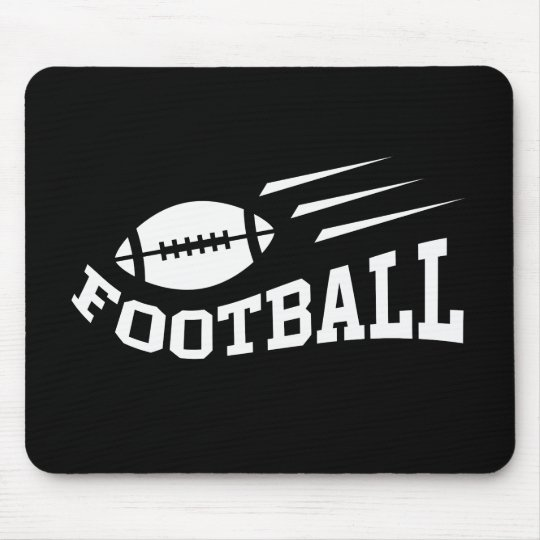 Football design with bouncing ball white on black mouse pad