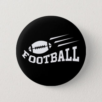 Football design with bouncing ball white on black pinback button