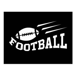 Football design with bouncing ball white on black postcard