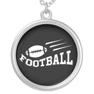 Football design with bouncing ball white on black round pendant necklace