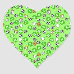Football Design with Green Shirts Heart Sticker