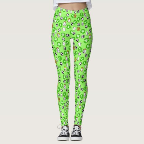 Football Design with Shirts in Green Leggings