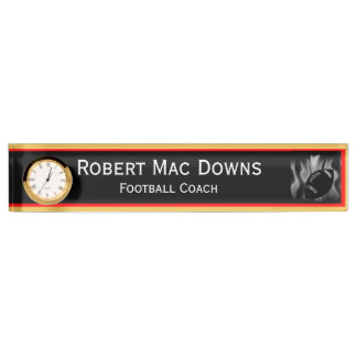 Football Desk Name Plate With Clock