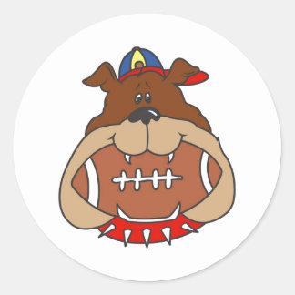 Football Dog Classic Round Sticker