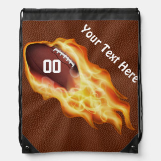 Football Drawstring Backpack with YOUR TEXT