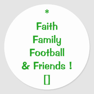 Football Family Values Envelope Seal Classic Round Sticker