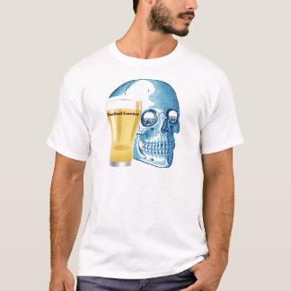 FOOTBALL FAN FOREVER GRAPHIC SKULL PRINT BLUE T-Shirt