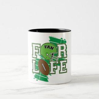 Football Fan Green Two-Tone Coffee Mug