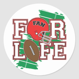 Football Fan Red Round Stickers