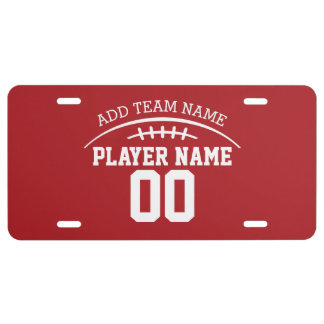 Football Fan with Custom Name and Number License Plate