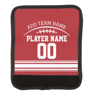 Football Fan with Custom Name and Number Luggage Handle Wrap