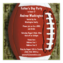 Football Father's Day Party Vintage Green Grunge Card