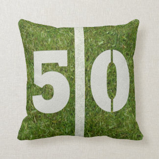 Football Field 50th Birthday Yard Throw Pillow