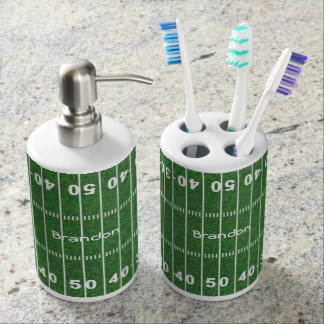 Football Field Design Bathroom Products Soap Dispenser And Toothbrush Holder