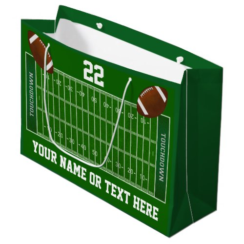 Football Field Gift Bags with Name and Number