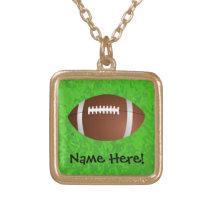Football Field Junior Varsity Gold Plated Necklace