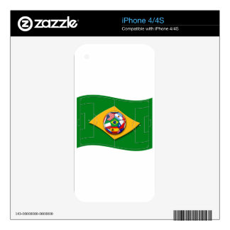 football field looks like Brazil flag with ball Decal For The iPhone 4