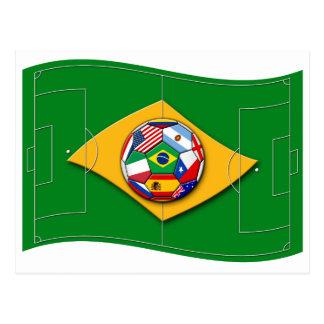 football field looks like Brazil flag with ball Postcard
