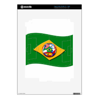 football field looks like Brazil flag with ball Decals For iPad 2