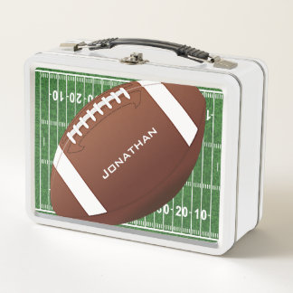 Football Field with Football Metal Lunchbox