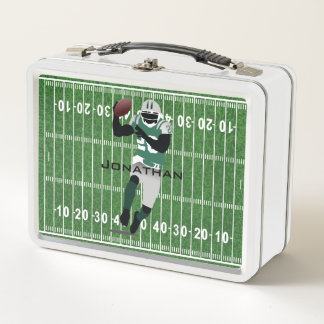 Football Field with Running Back Metal Lunchbox