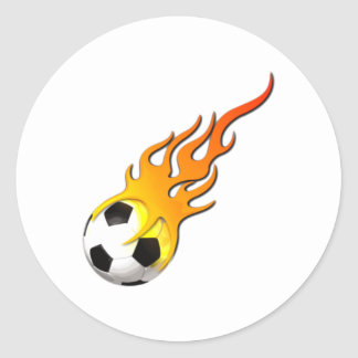 Football fire flames soccer ball fire flames classic round sticker
