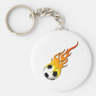 Football fire flames soccer ball fire flames keychain