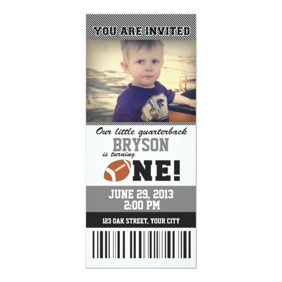 Football First Birthday _ GREY/BLACK Invitation