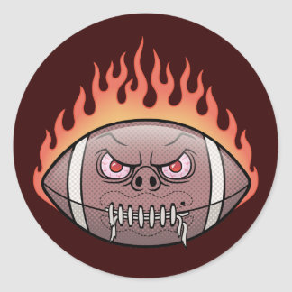 Football - Flames Classic Round Sticker