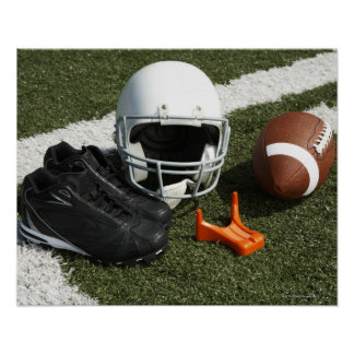 Football, football helmet, tee and shoes on poster