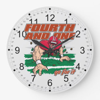 Football Fourth and One Large Clock