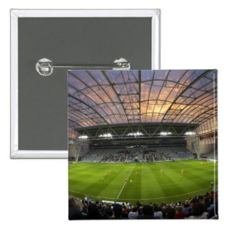 Football game, Forsyth Barr Stadium, Dunedin Pinback Button