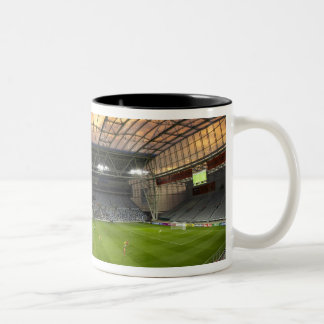 Football game, Forsyth Barr Stadium, Dunedin Two-Tone Coffee Mug