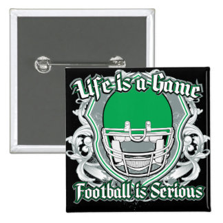 Football Game Green 2 Inch Square Button