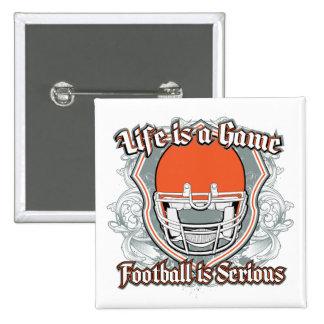 Football Game Orange 2 Inch Square Button